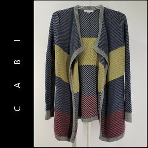 Cabi Woman Open Front Stripe Knit Cardigan Small